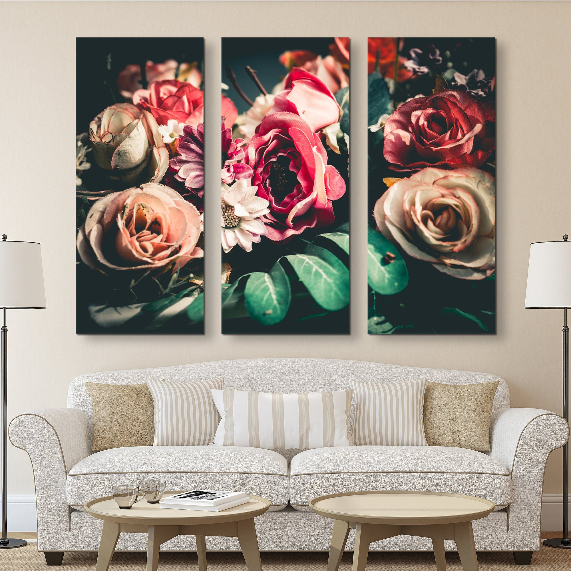 3 piece Retro Floral wall art