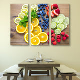3 piece Sliced Fresh Fruits wall art