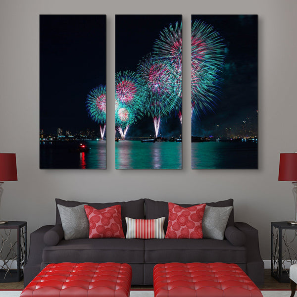 3 piece Fireworks in New York wall art