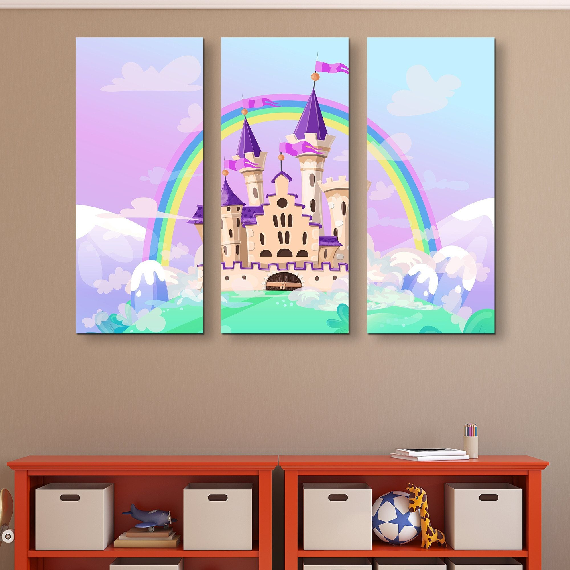 3 piece FairyTale Palace wall art
