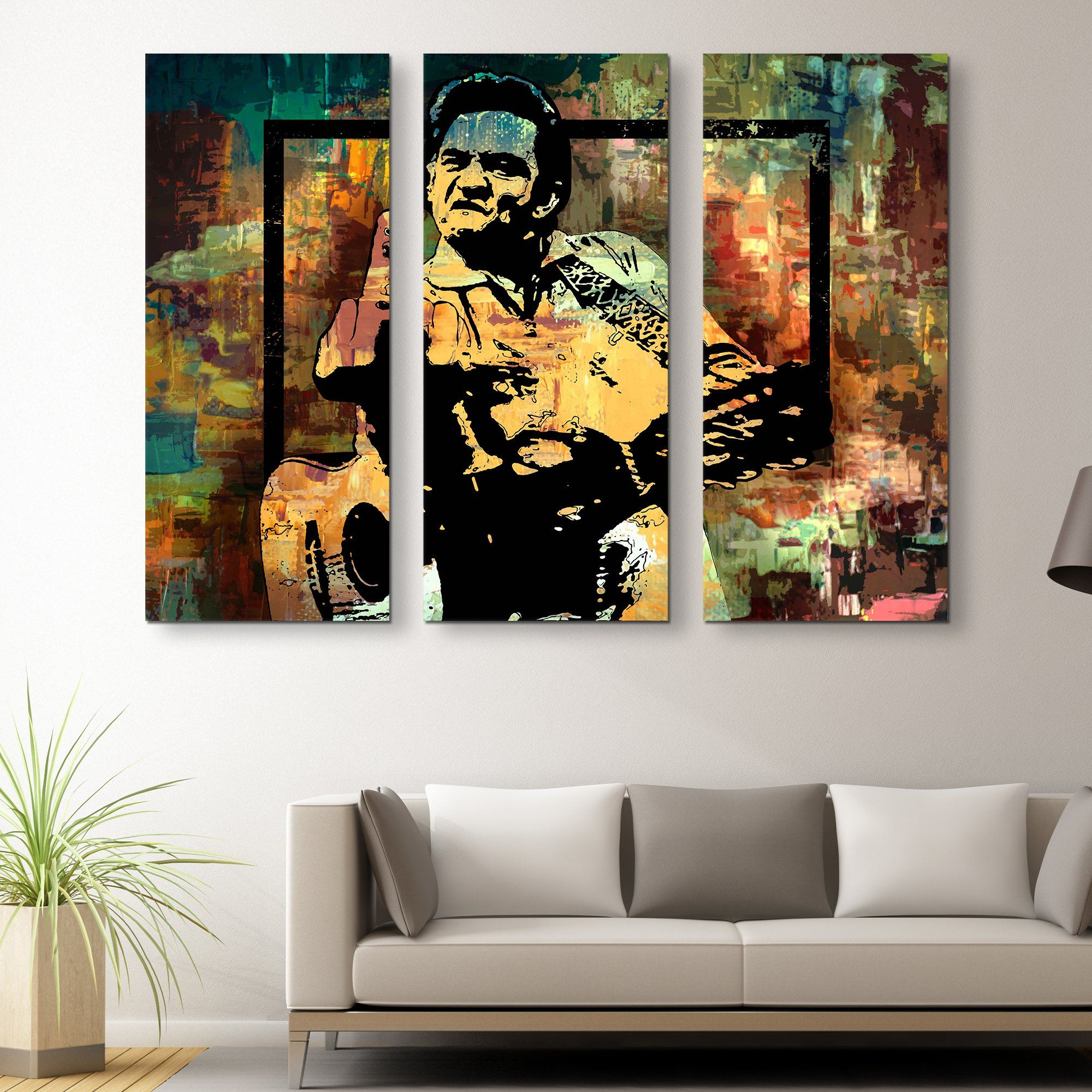 3 piece Johnny Cash Middle Finger wall art