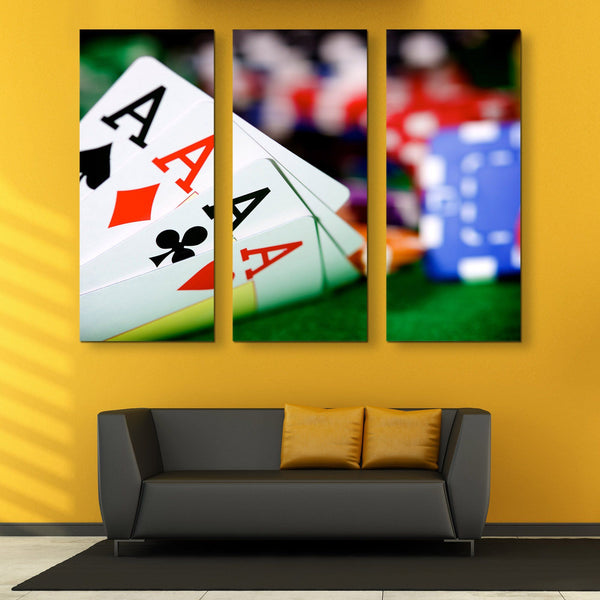 3 piece Poker Aces wall art