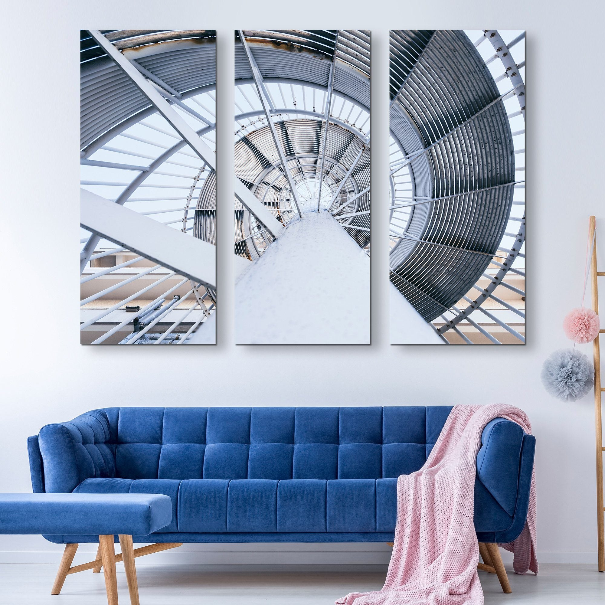 3 piece Spinning Steel Staircase wall art