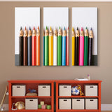 3 piece Happy Pencils wall art