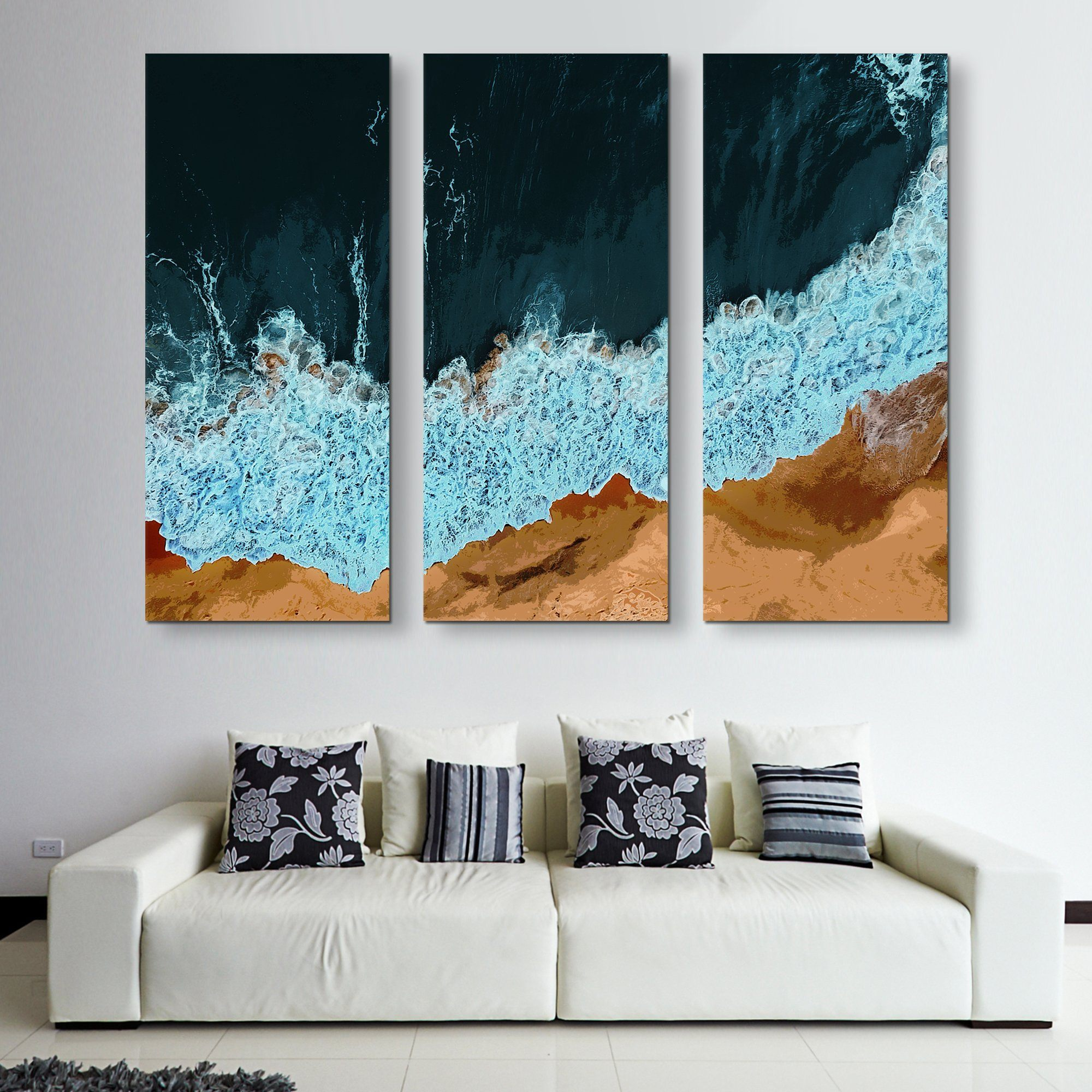 3 piece Waves of Solitude wall art