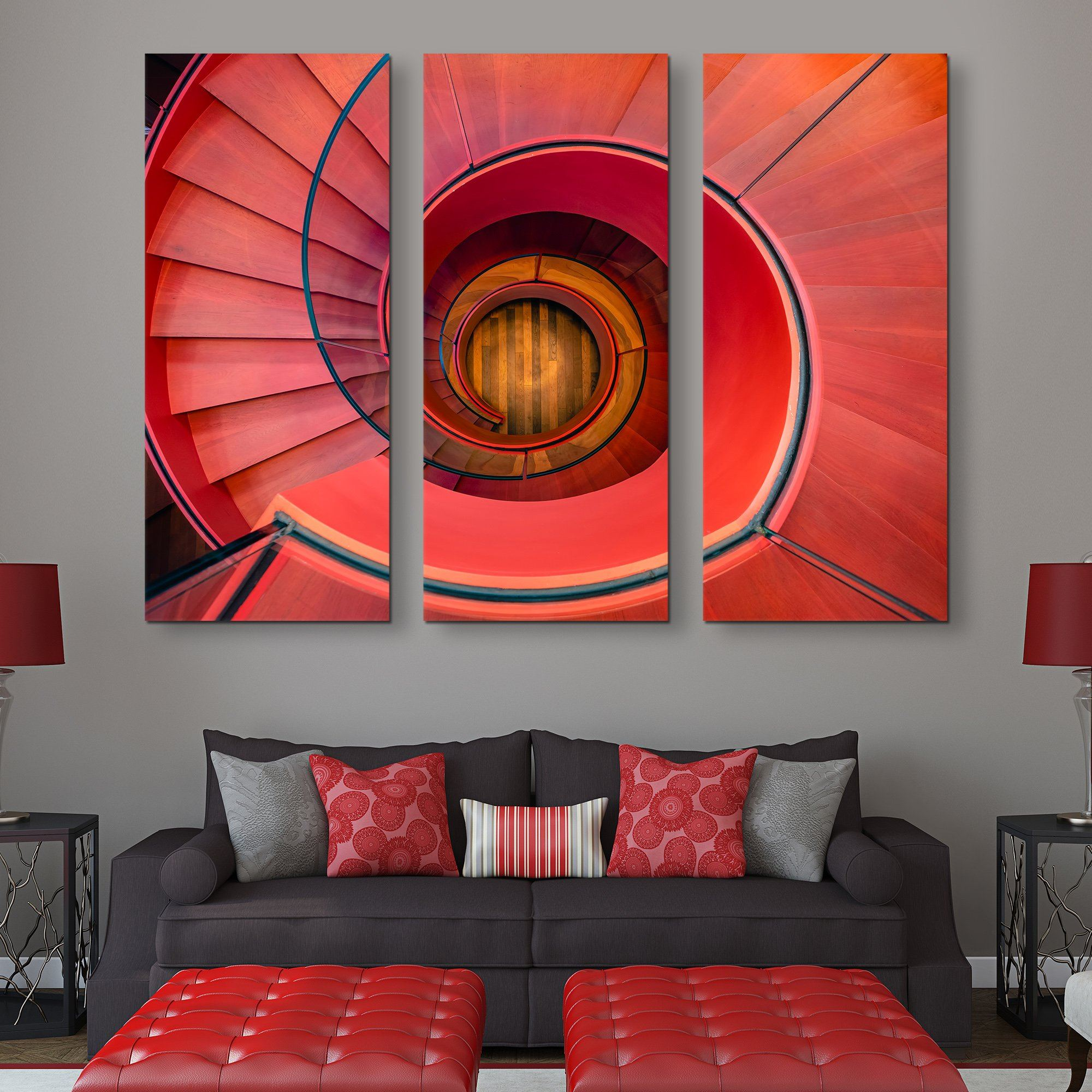 3 piece Spiral Staircase wall art