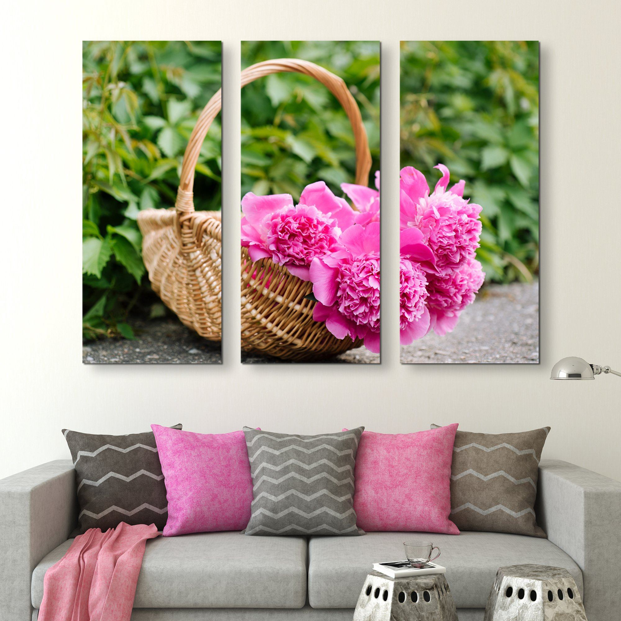 3 piece Peonies In A Basket wall art