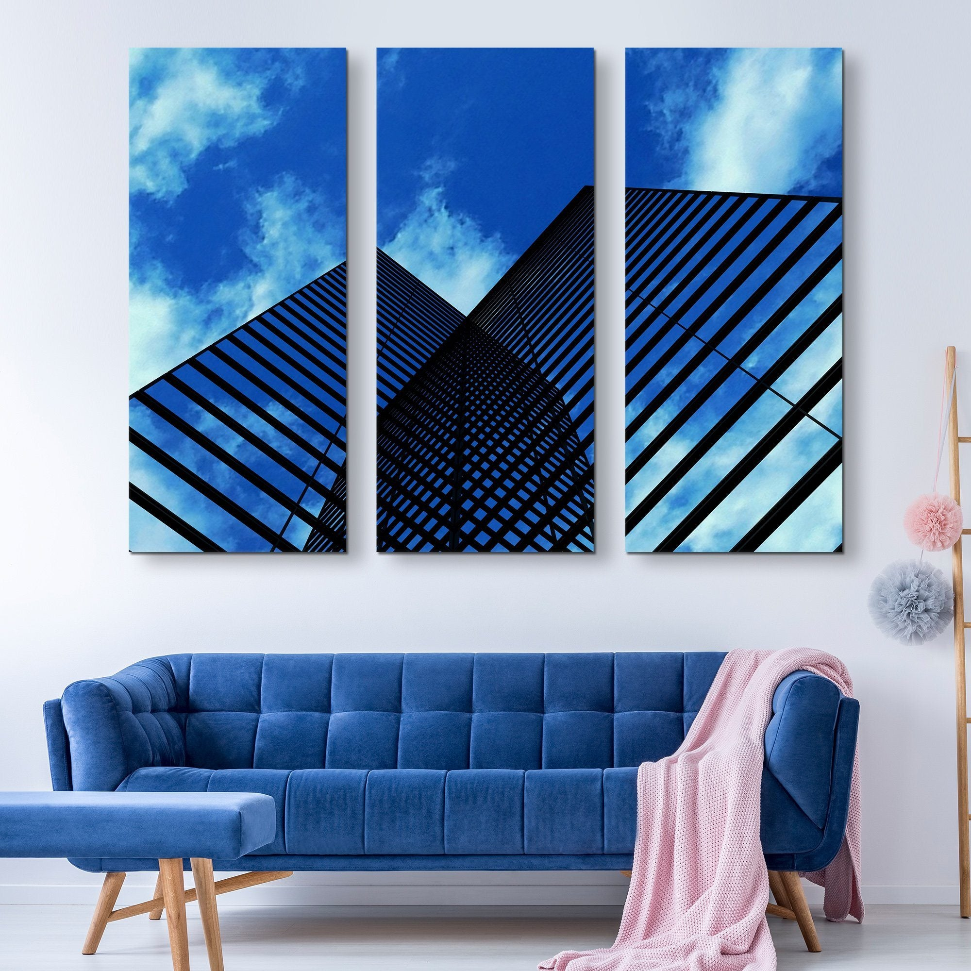 3 piece Skyscrapers Reflection wall art