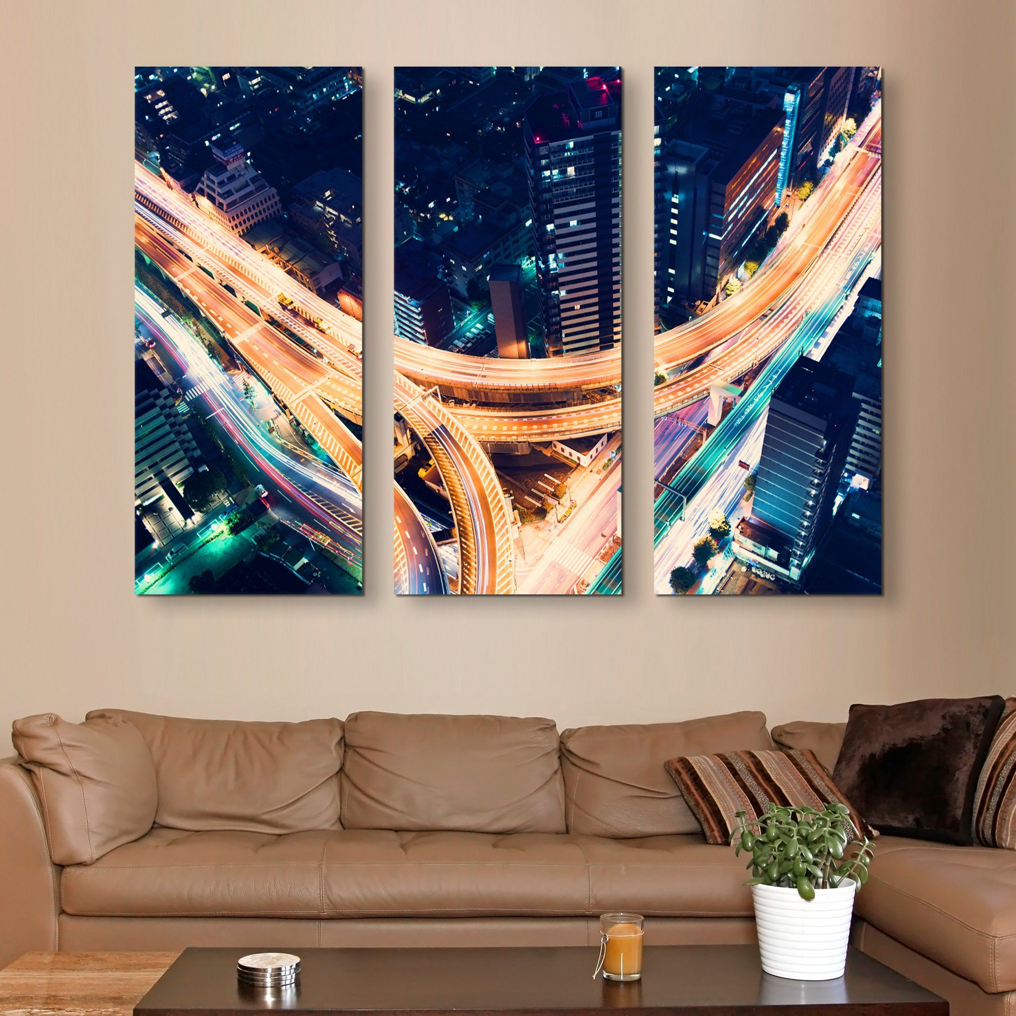 3 piece Road Night Lights wall art