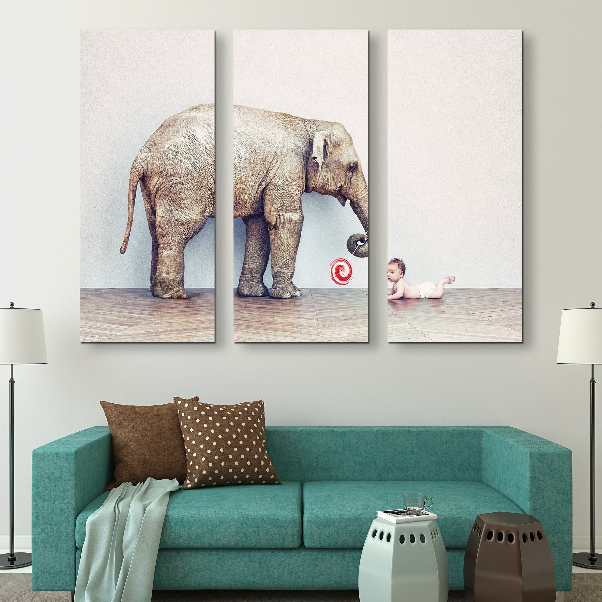 3 piece Baby and Elephant wall art