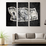 3 piece Crumpled Benjamin wall art