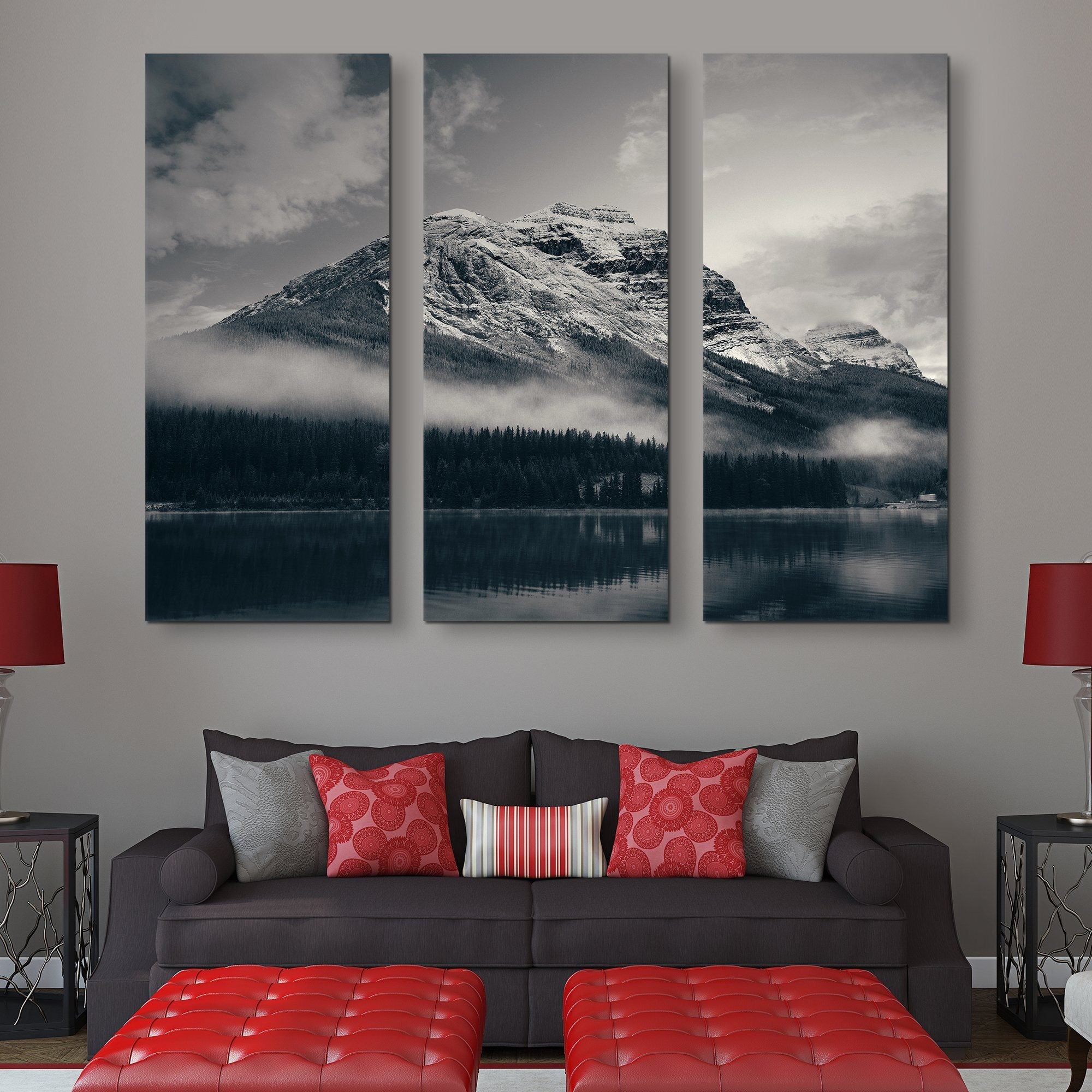 Snow Capped Mountain - Banff National Park wall art 3 piece
