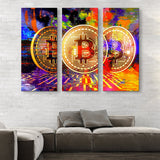 3 piece Bitcoin Power wall art