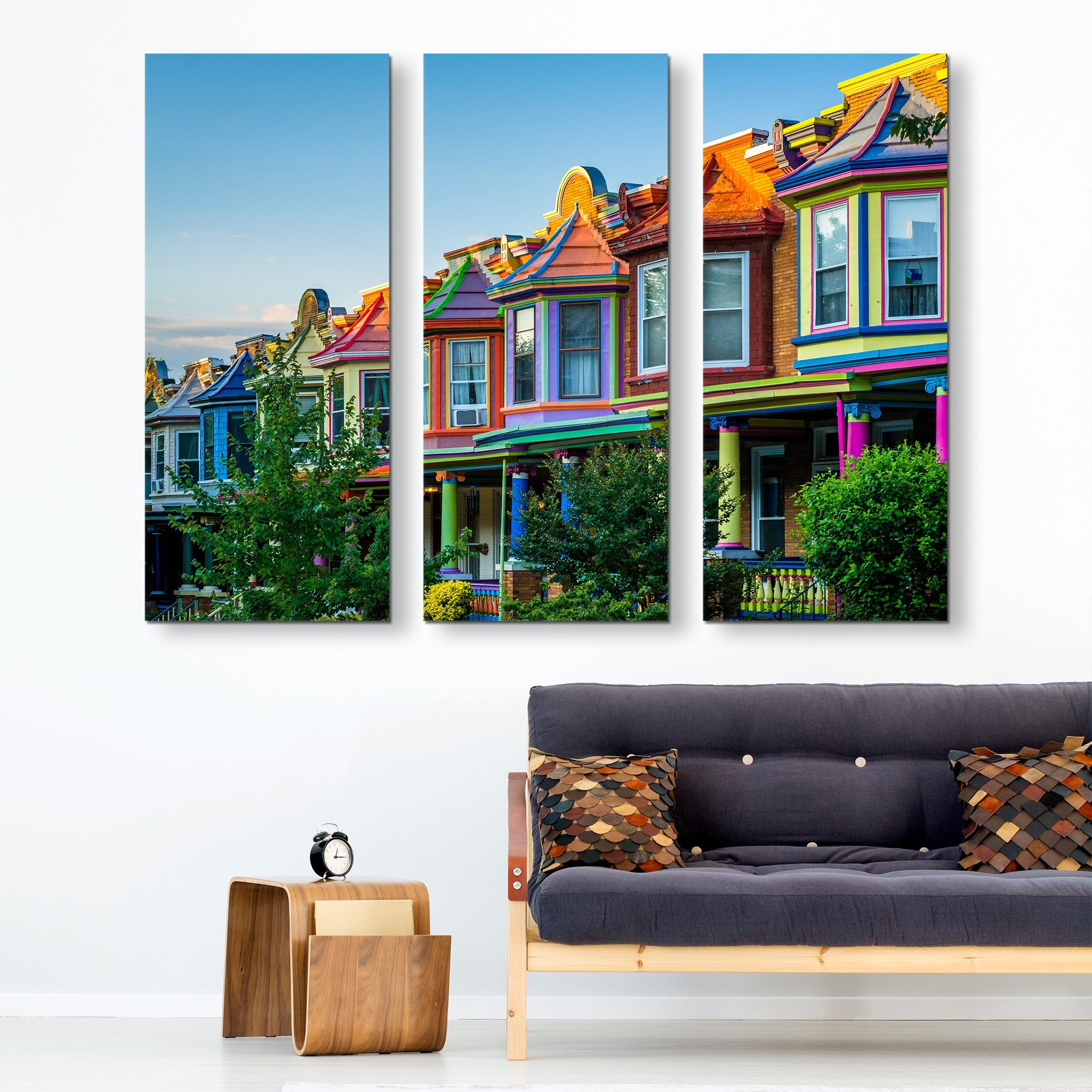 3 piece Colorful Houses wall art