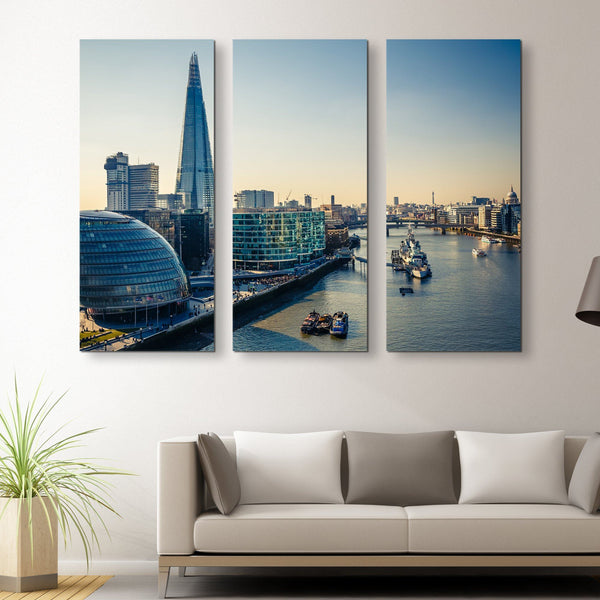 3 piece Thames and London City wall art