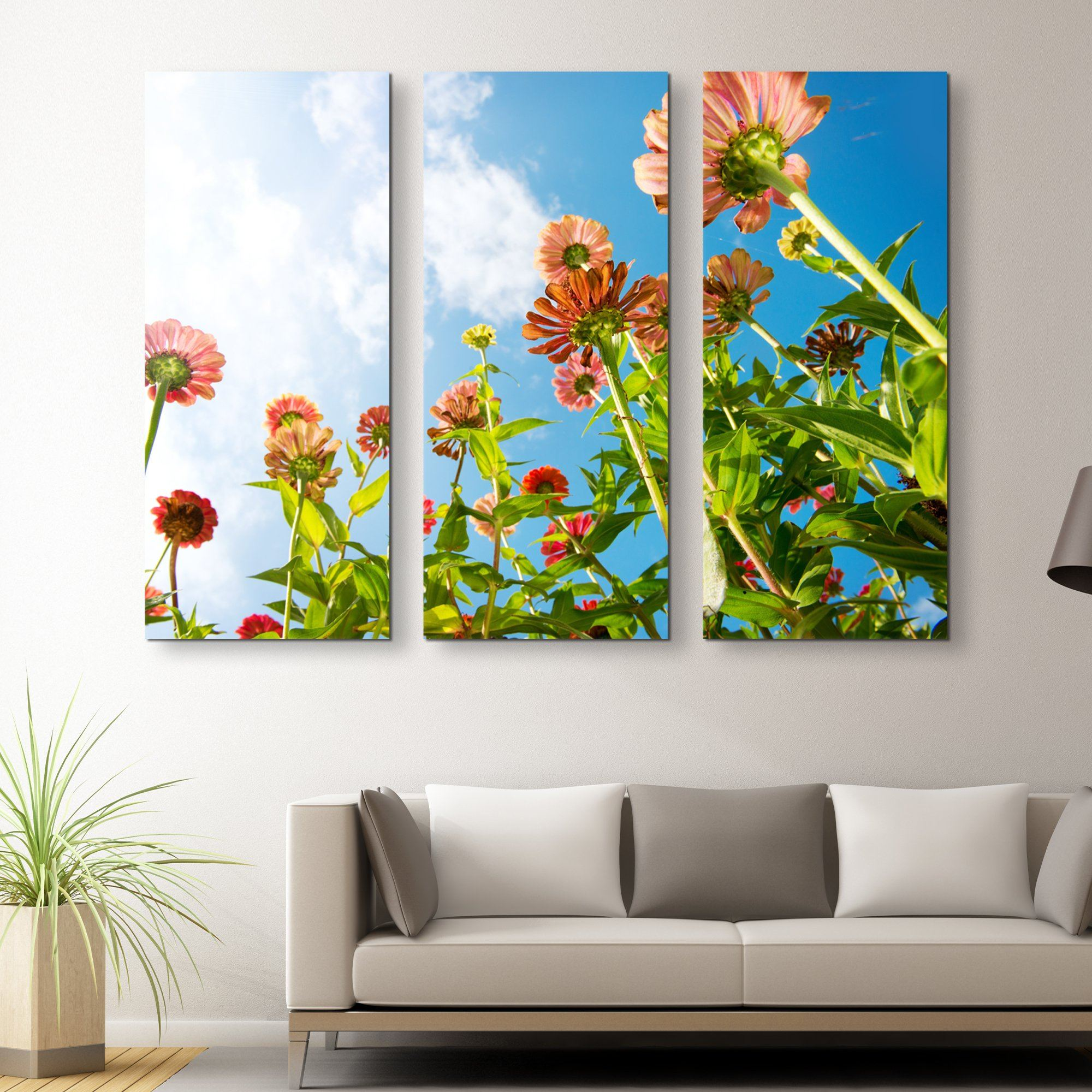 3 piece Flowers Over Blue Sky wall art