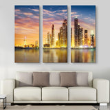 3 piece Dubai Marina Skyline wall art