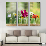 3 piece Summer flowers in bottles wall art