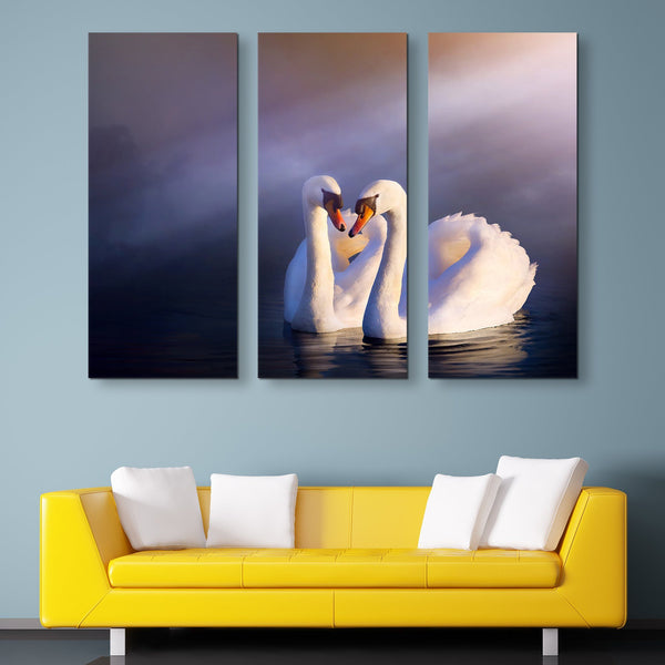 3 piece Swans in Love wall art