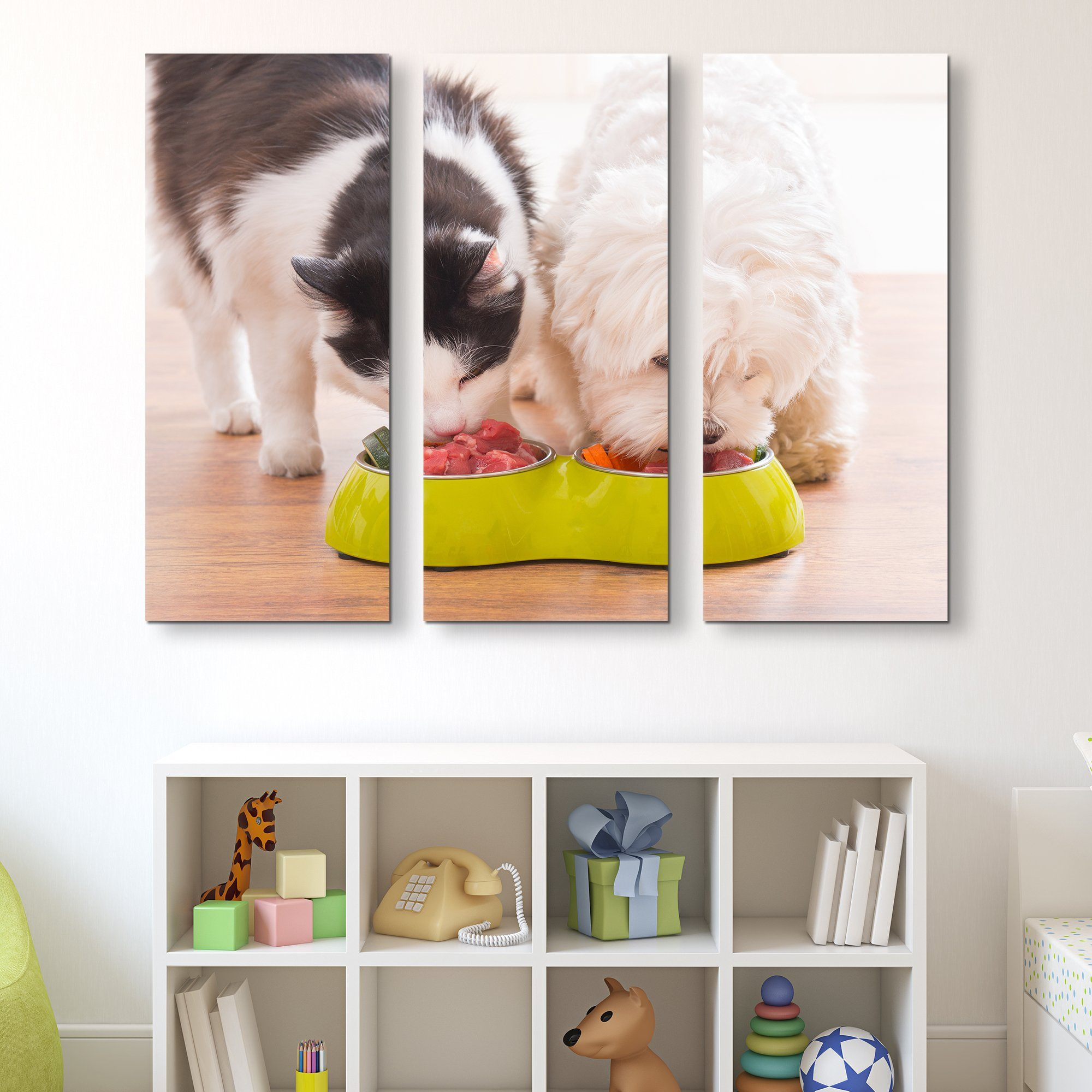 3 piece dog and cat wall art