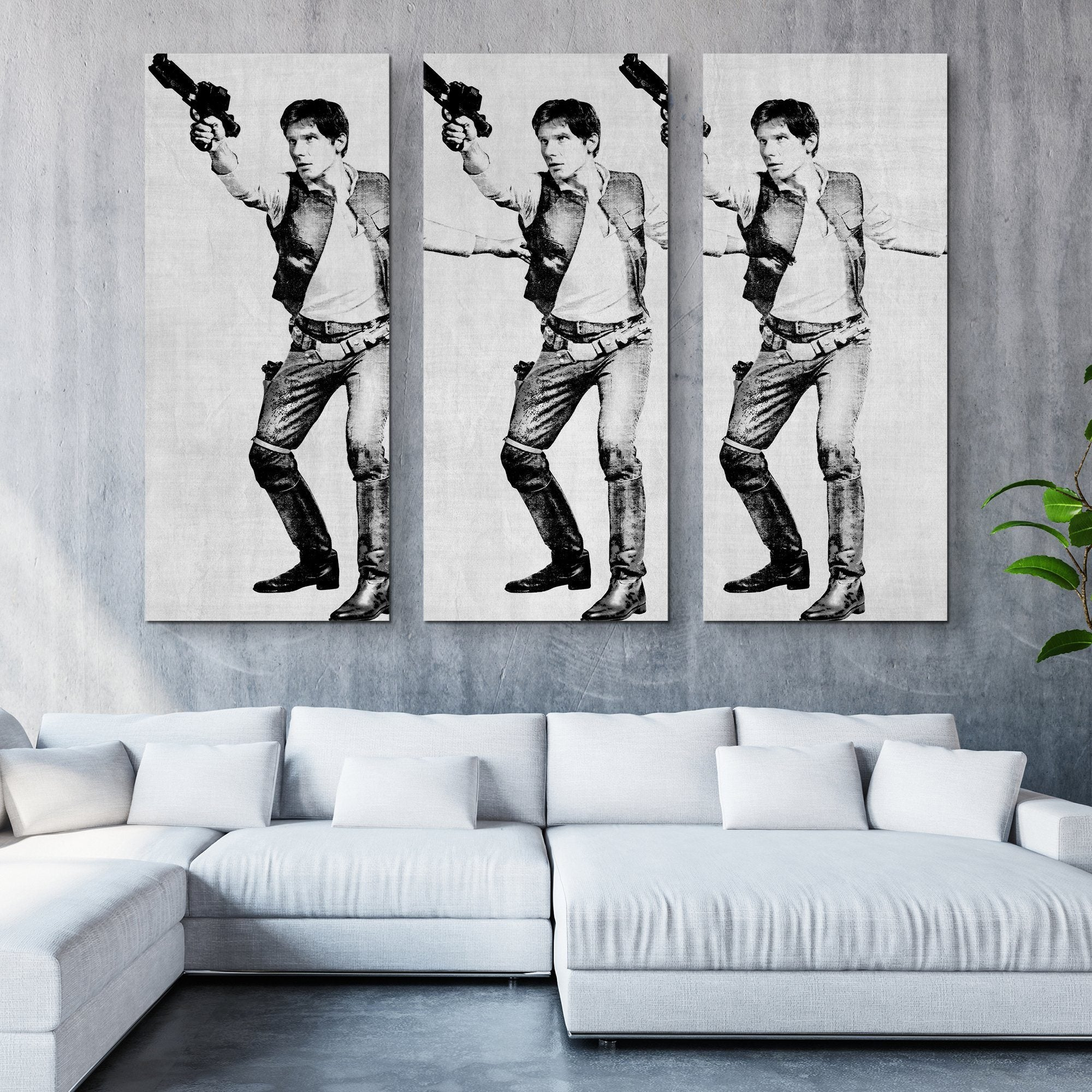 3 piece han solo wall art