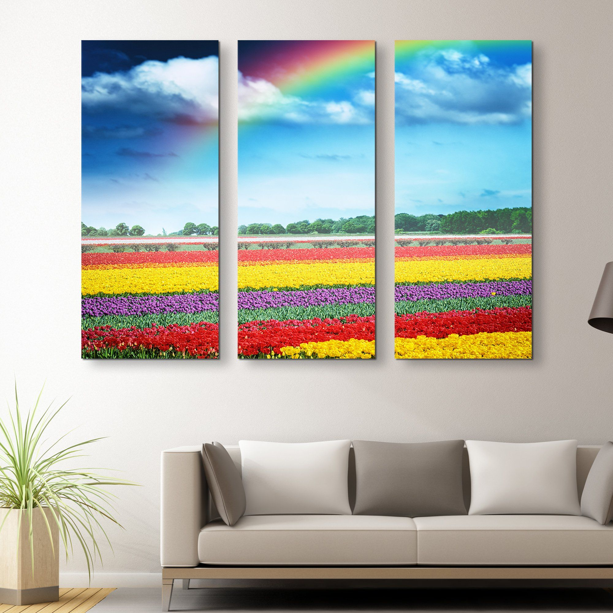 3 piece Rainbow Over Tulips wall art
