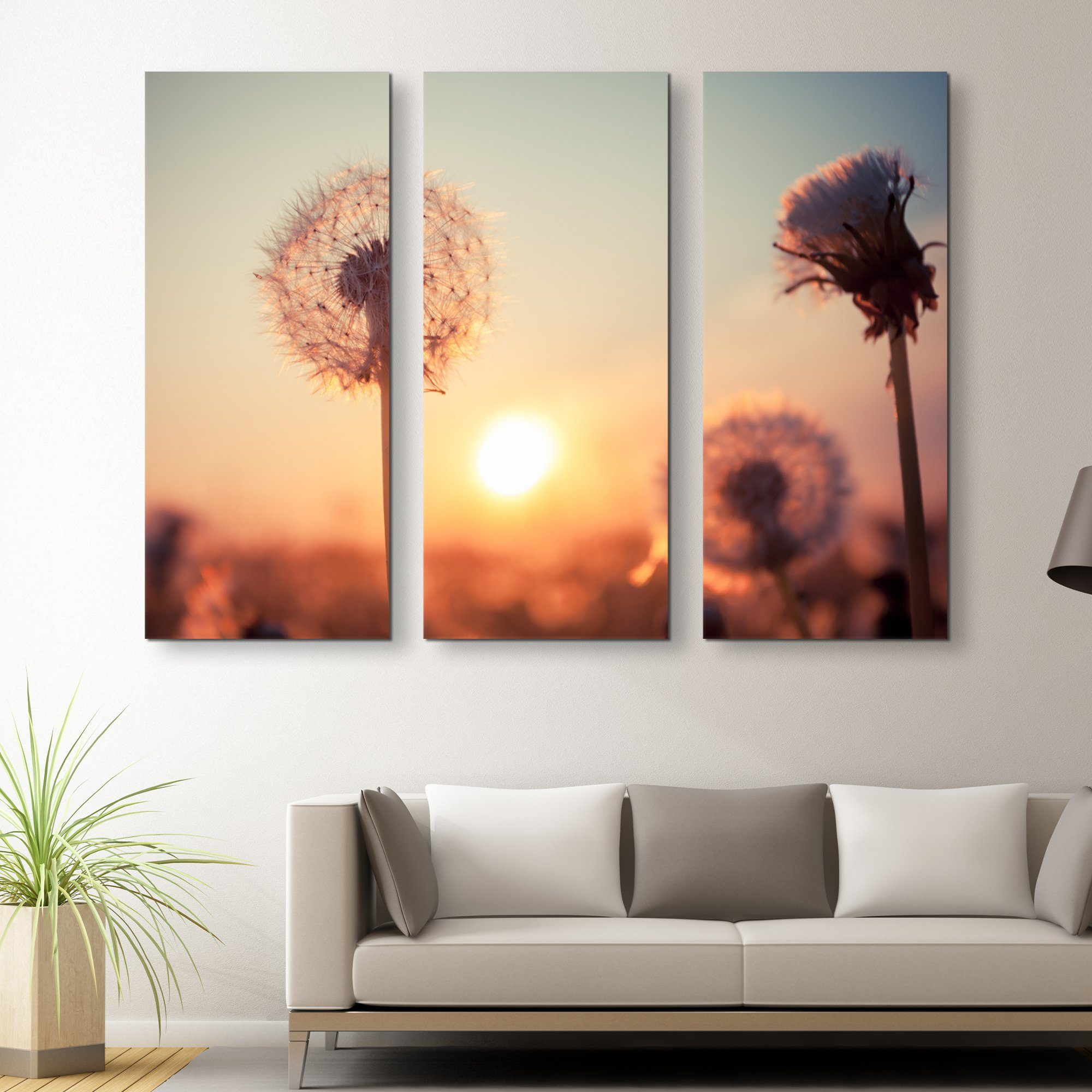 3 piece Dandelions at Sunset wall art