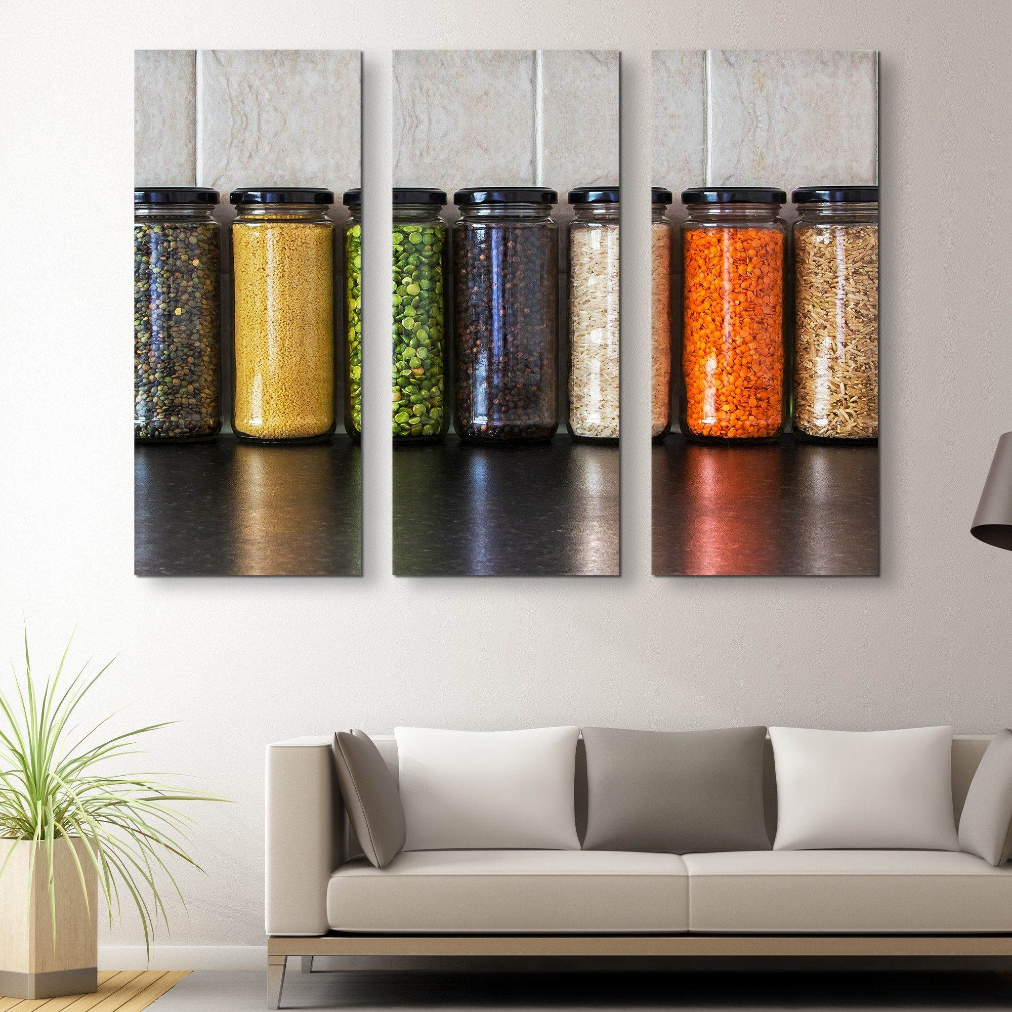 3 piece Seeds and Pulses in Jars wall art