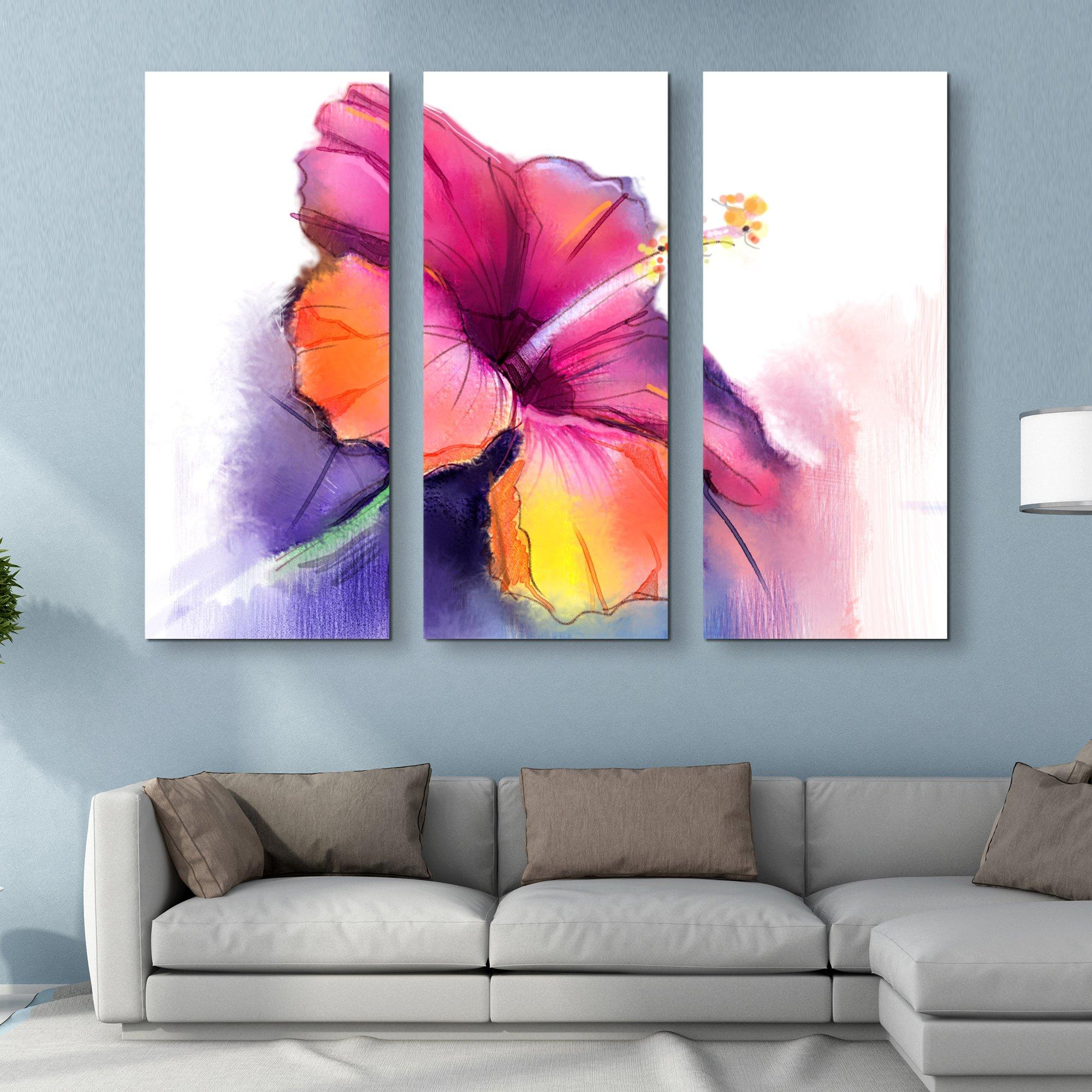 3 piece Abstract Hibiscus wall art