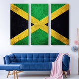 3 piece Jamaican Flag wall art