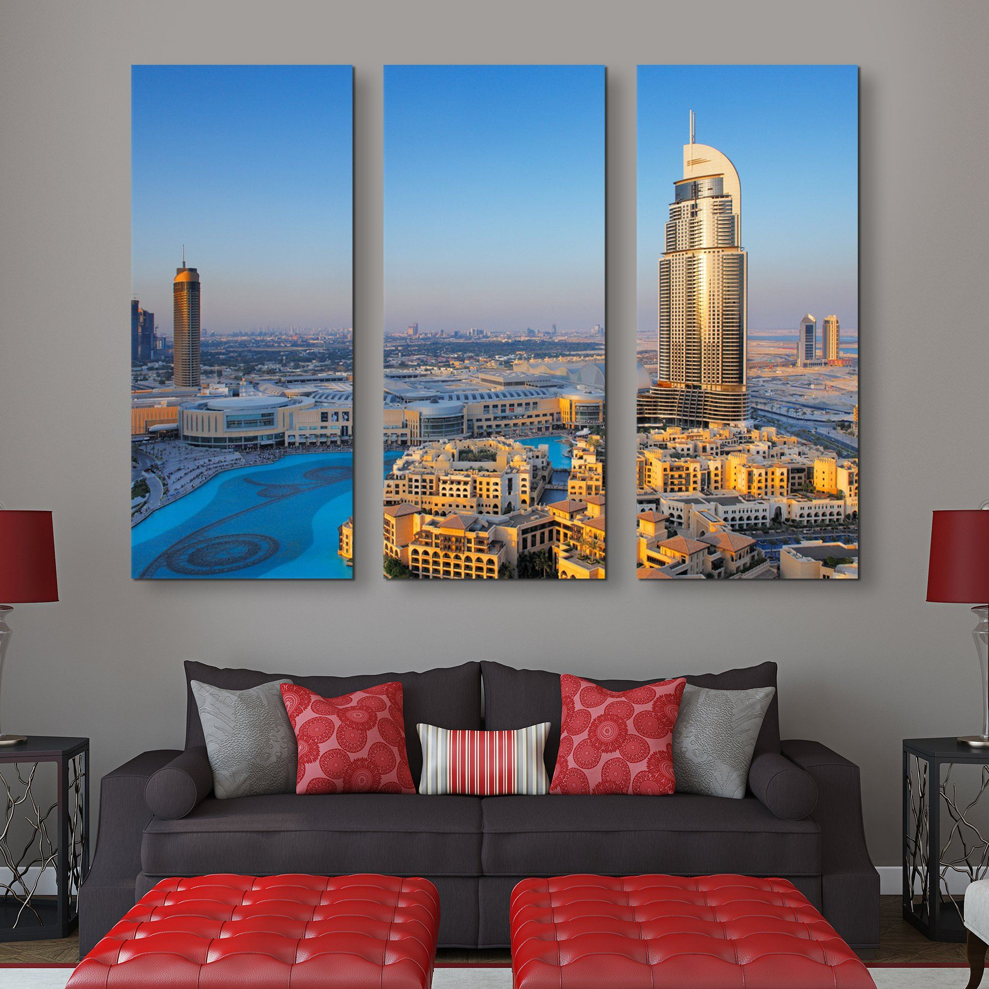3 piece Downtown Dubai wall art