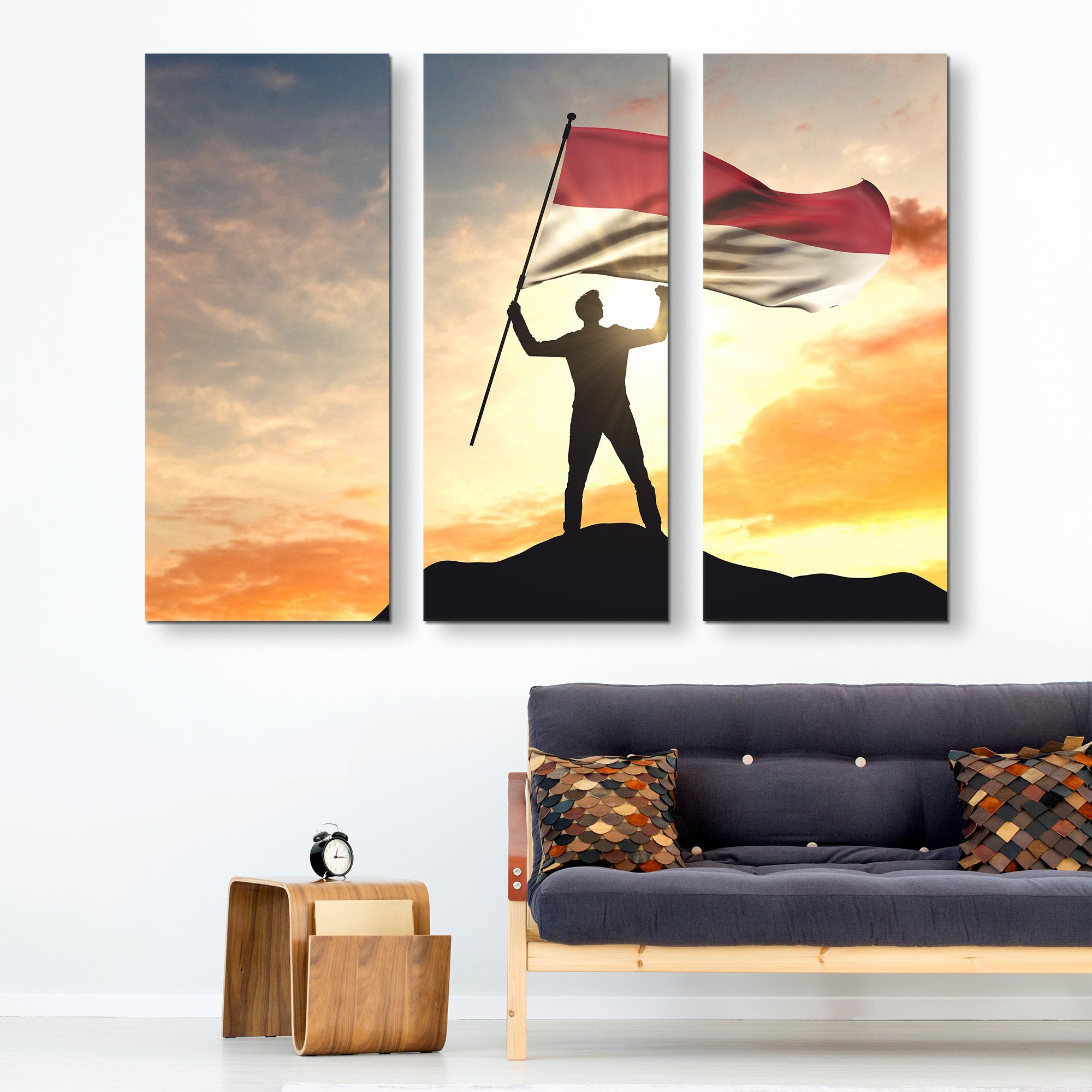 3 piece Indonesia Flag wall art