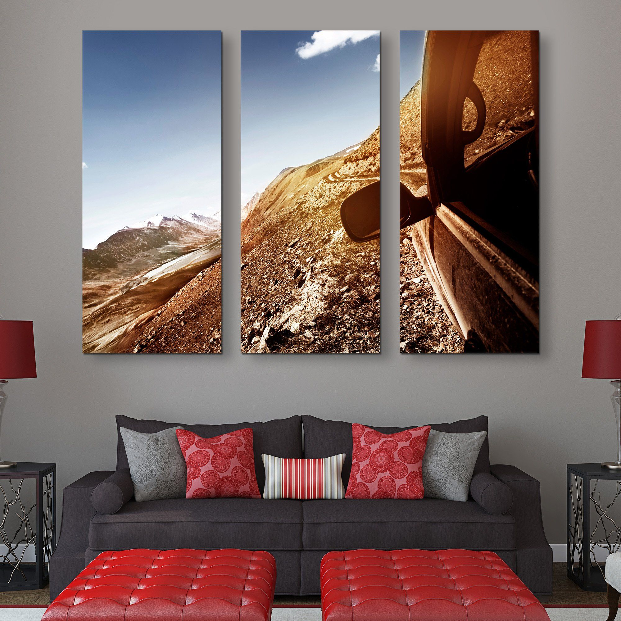 3 piece Car in a Mountain wall art