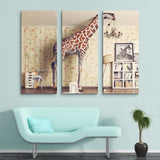 3 piece Giraffe Breaks the Ceiling wall art
