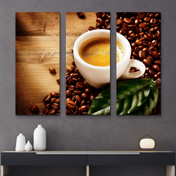 3 piece Cup of Coffee Espresso wall art