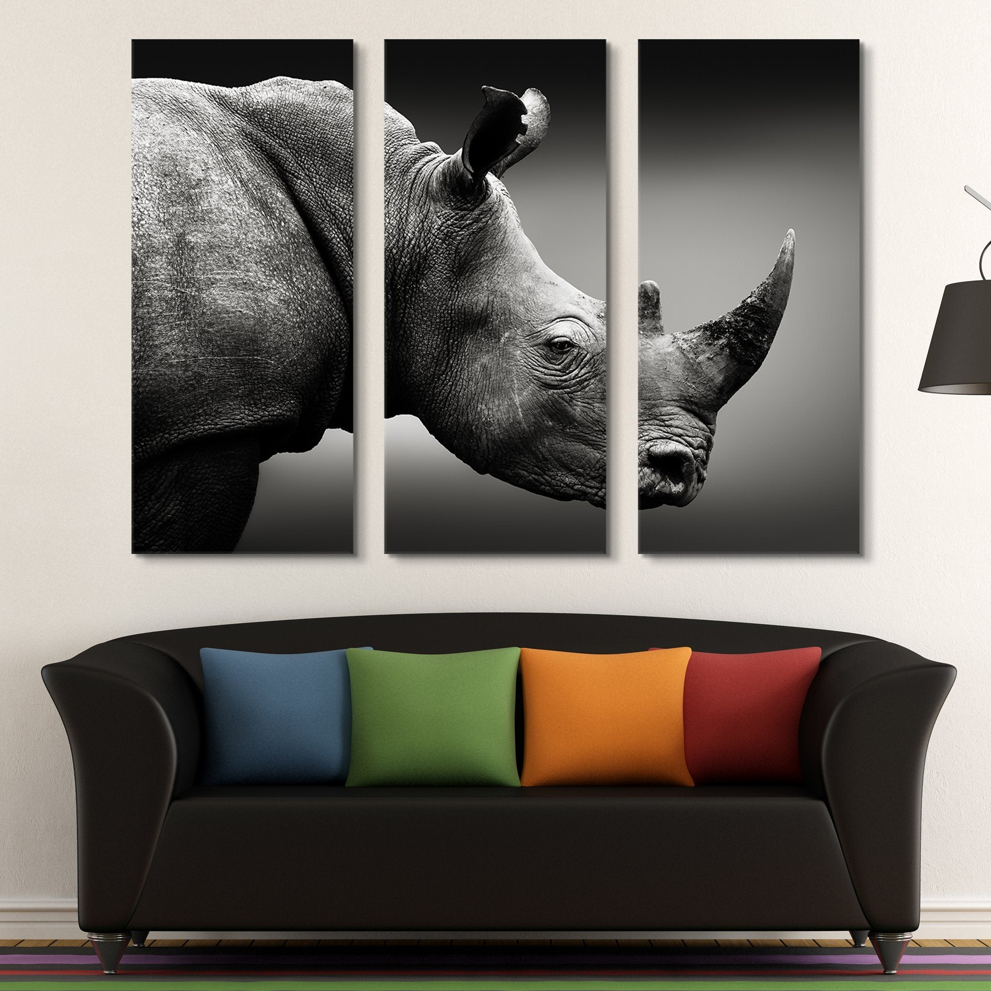3 piece Rhinoceros Monochrome wall art