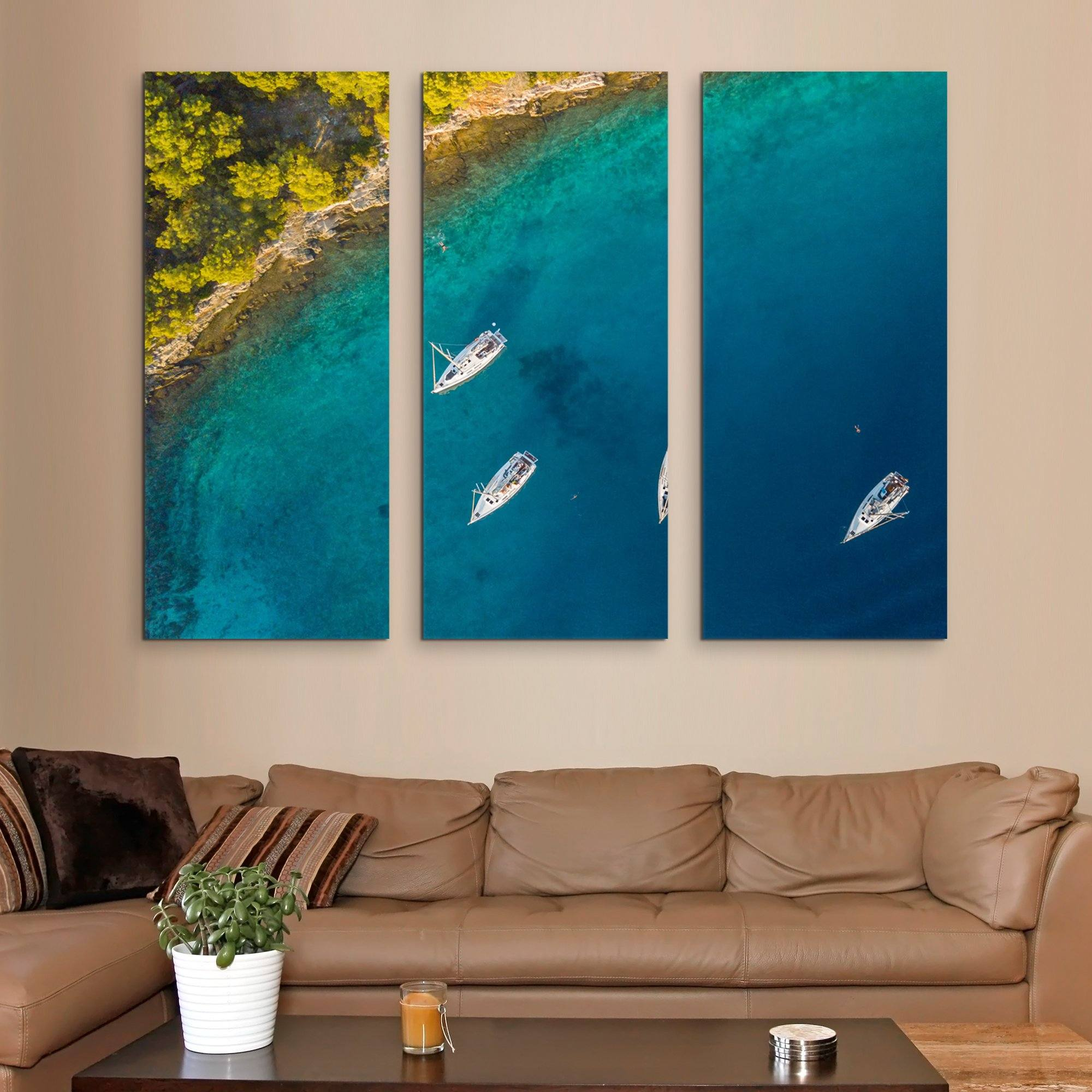 3 piece Aerial View of Sailing Boats wall art