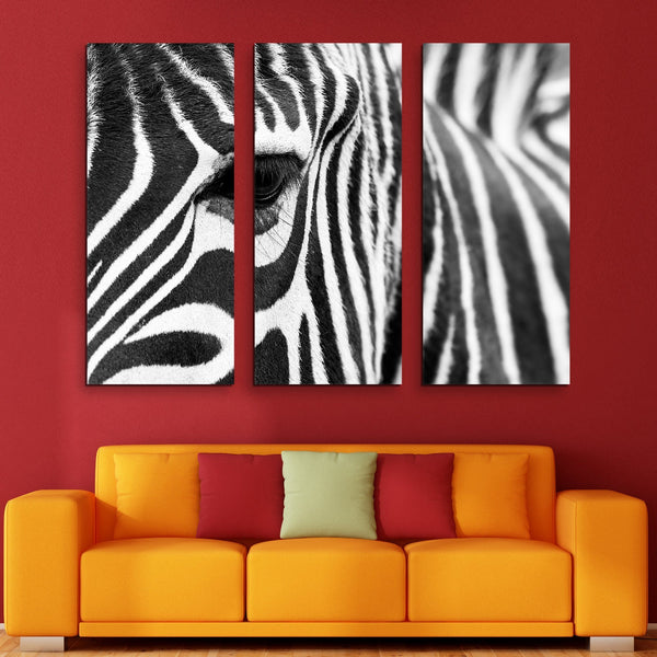 3 piece zebra wall art