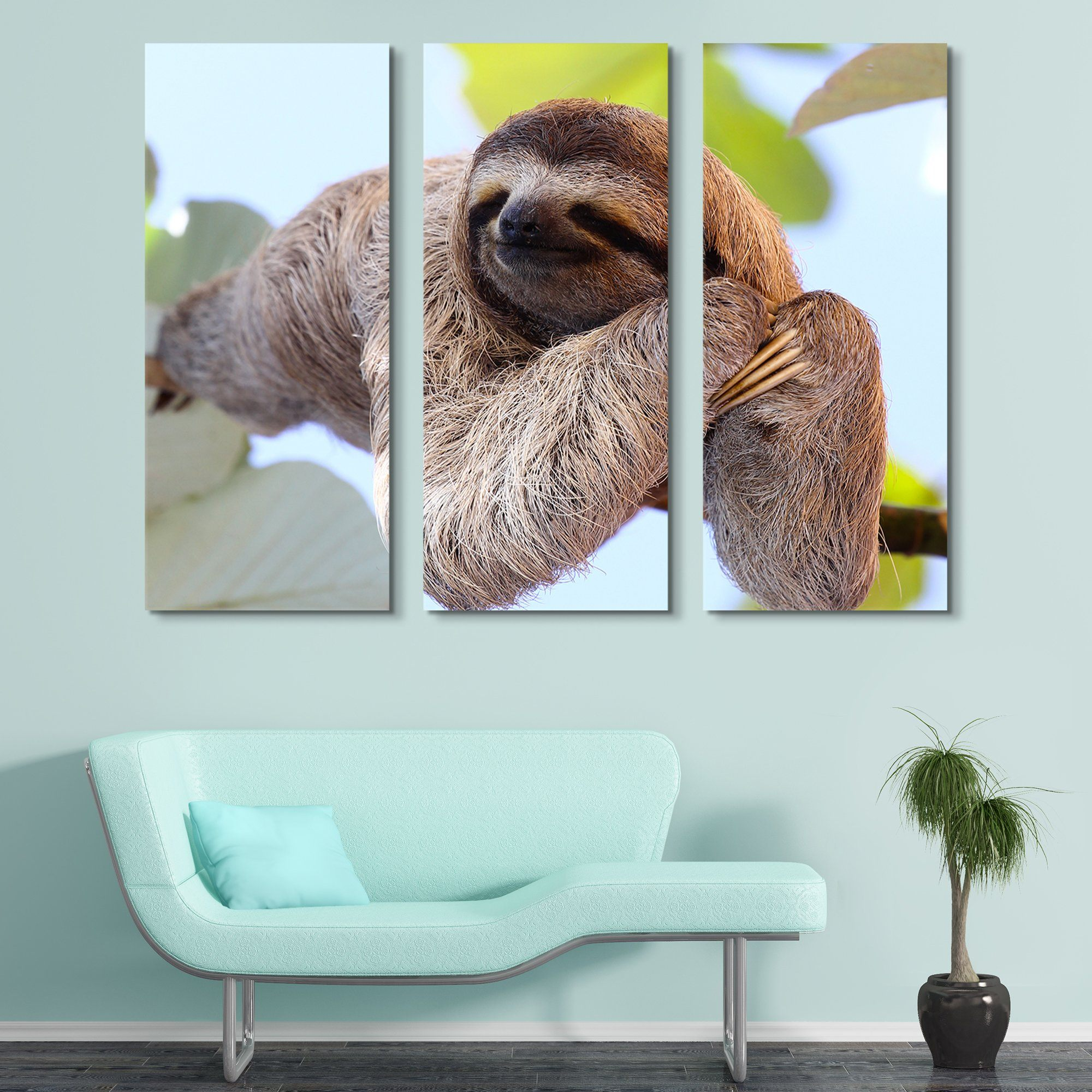 3 piece Happy Sloth wall art