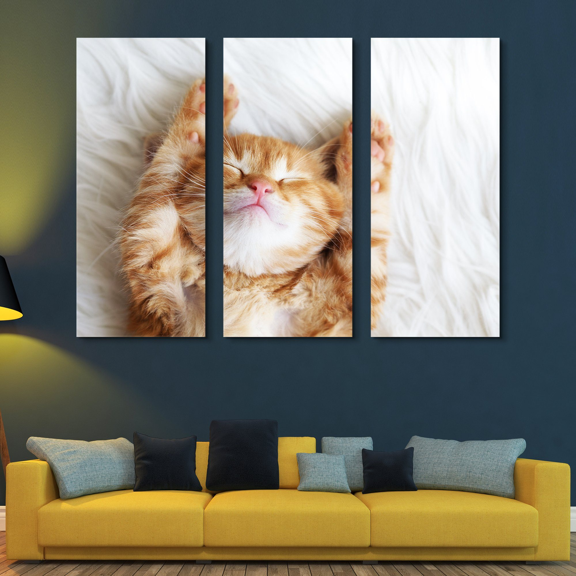 3 piece Sleeping Kitten wall art