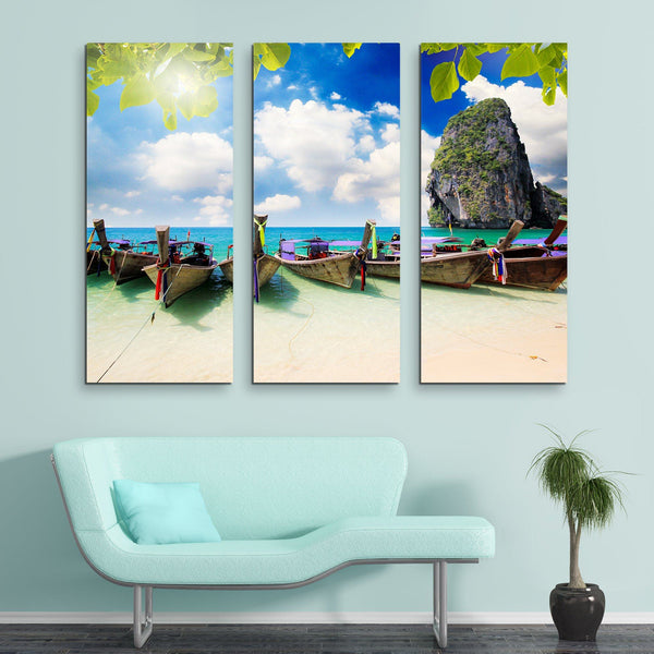 3 piece Long Tail Boats wall art
