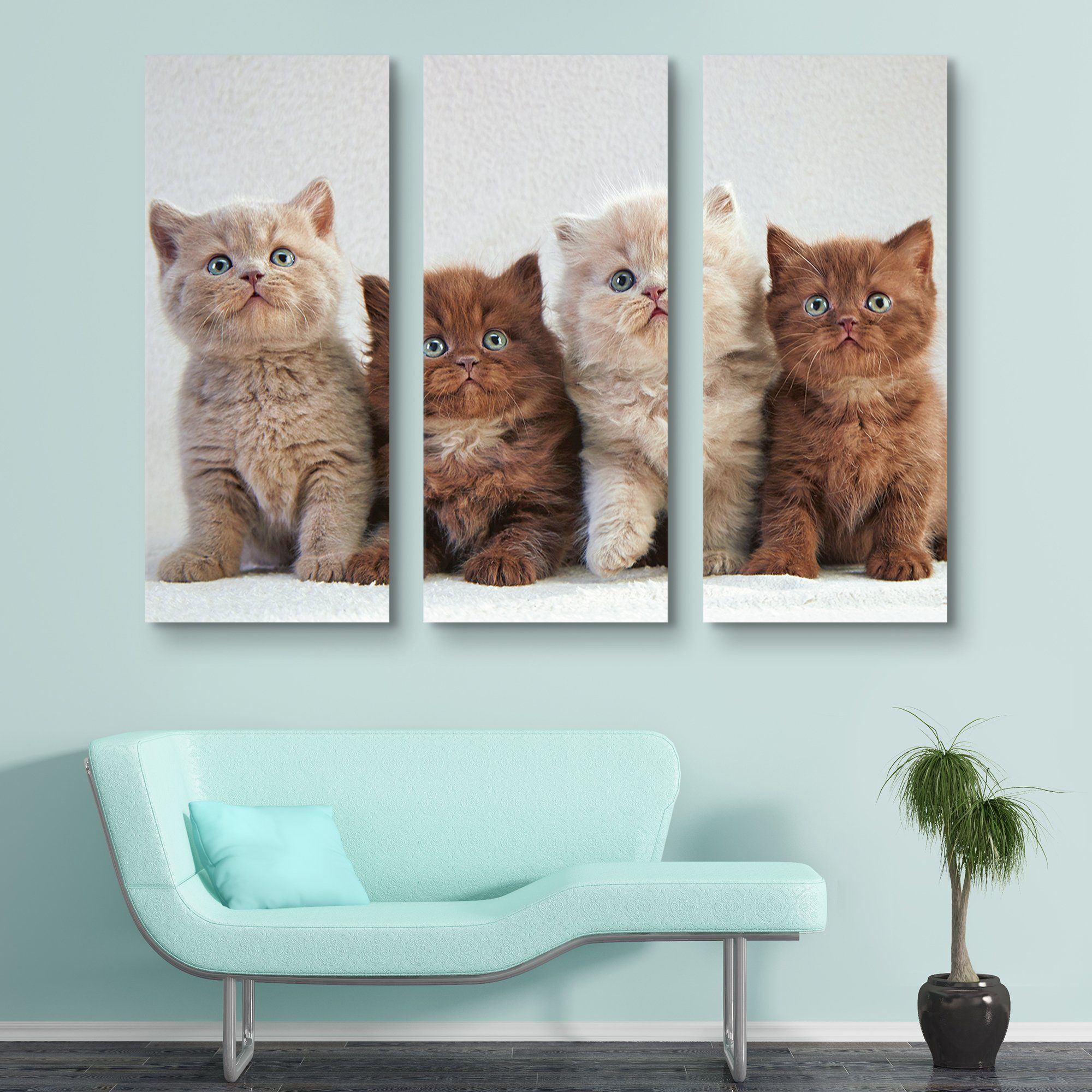 3 piece Four Kittens wall art