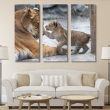 3 piece Lion and Cub wall art