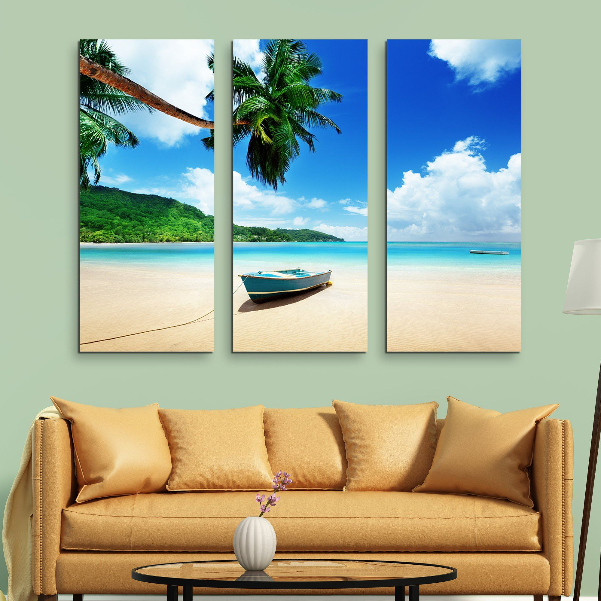 3 piece Boat on Mahe Island wall art