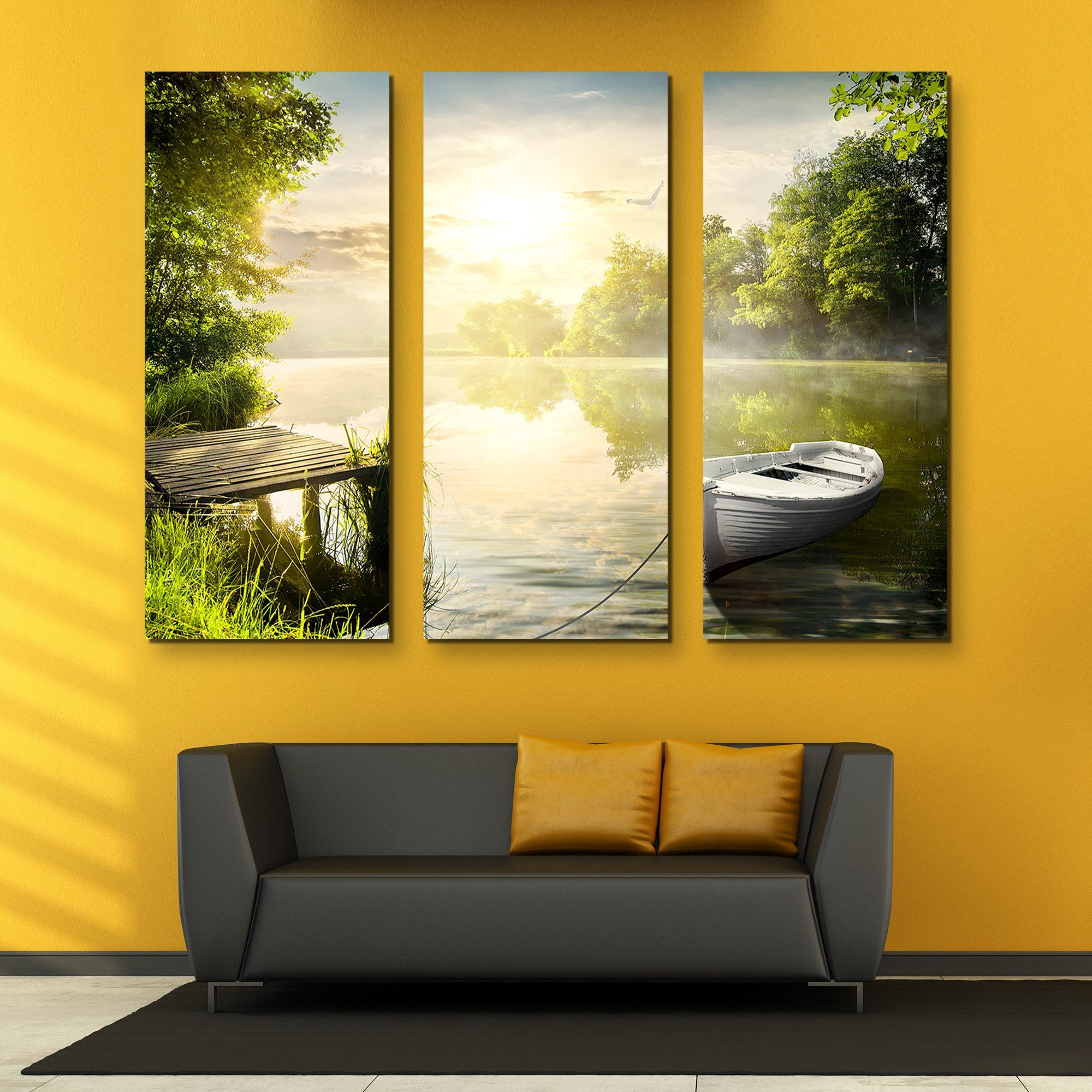 3 piece Along the Riverbanks wall art
