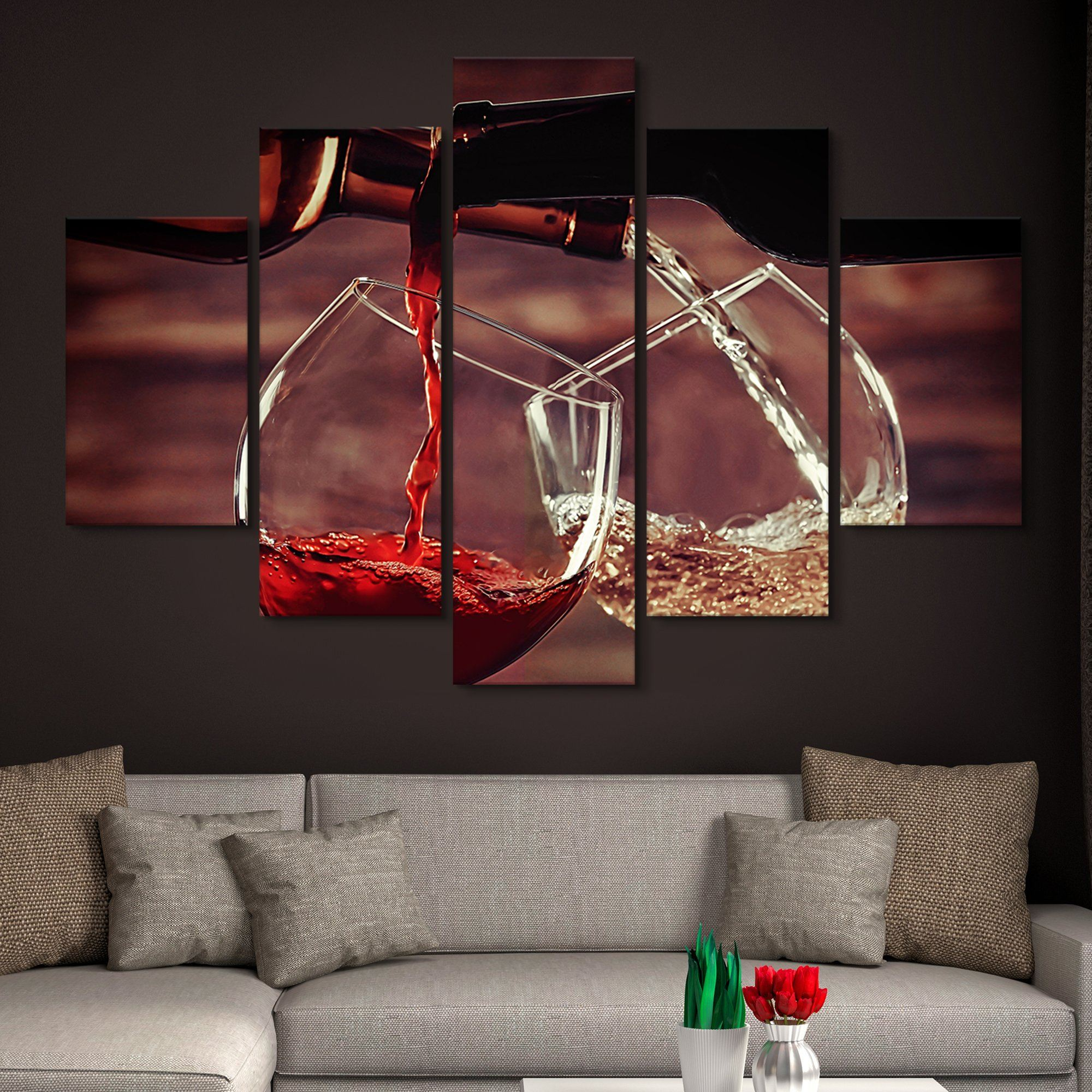 5 piece White and Red Wine Pouring wall art