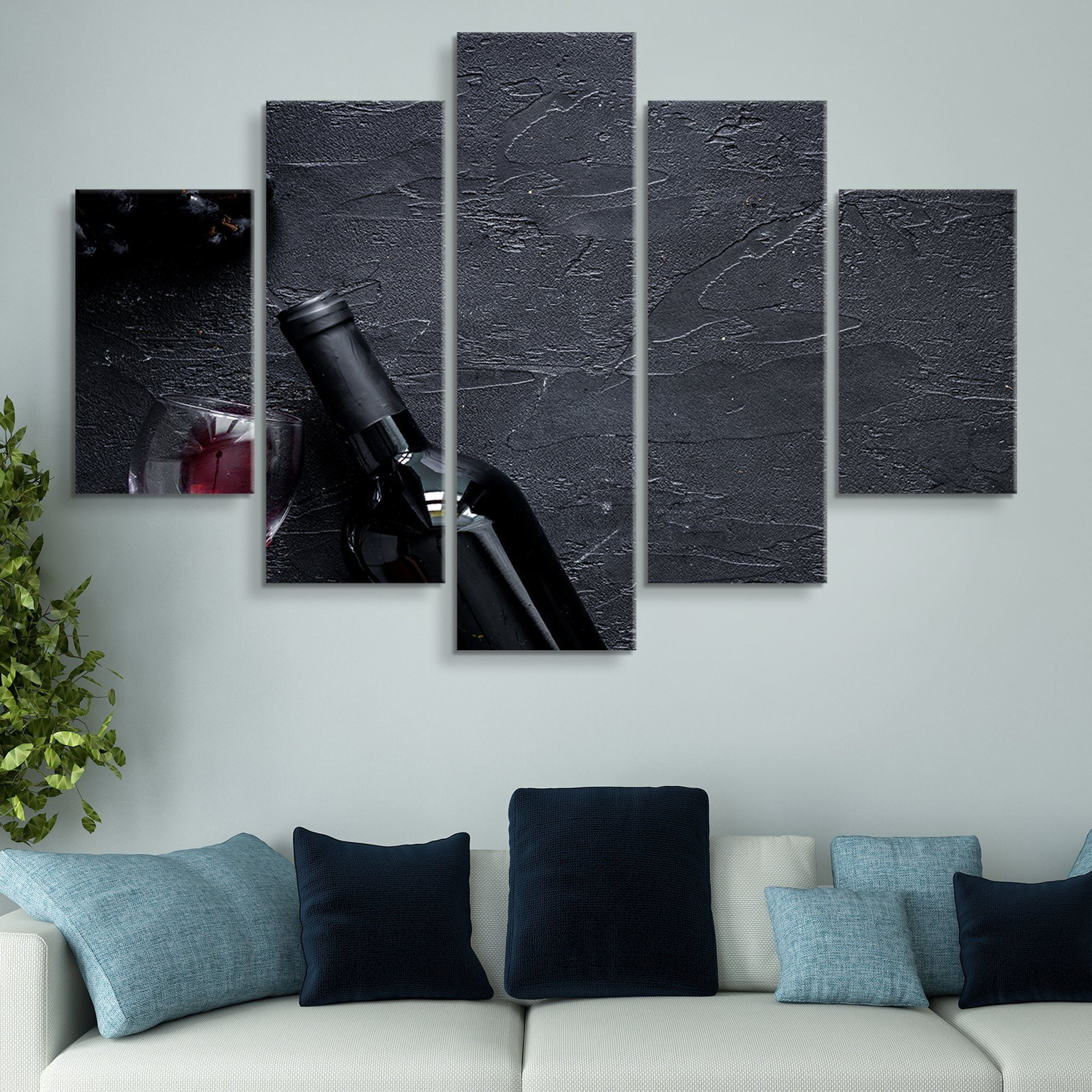 5 piece Red Wine wall art