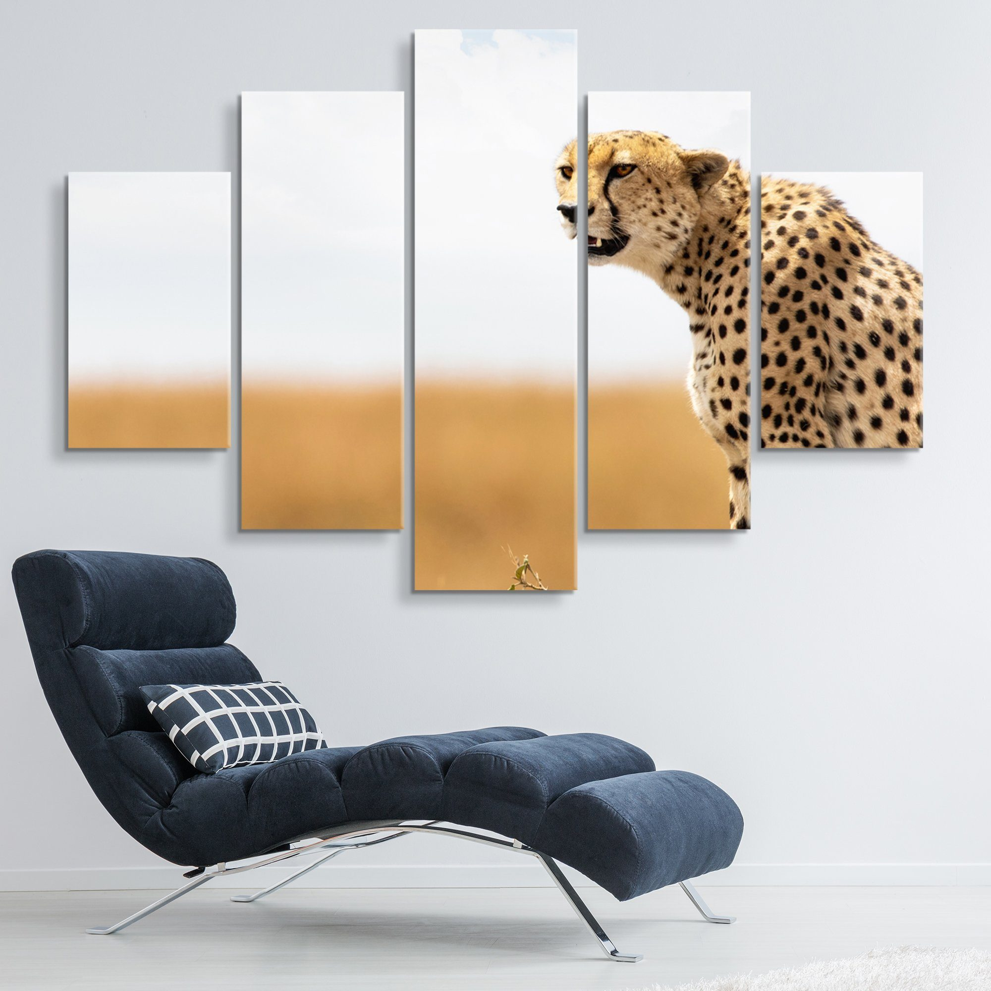 5 piece Cheetah wall art