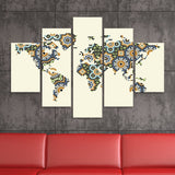 Morocco Mosaic World Map wall art