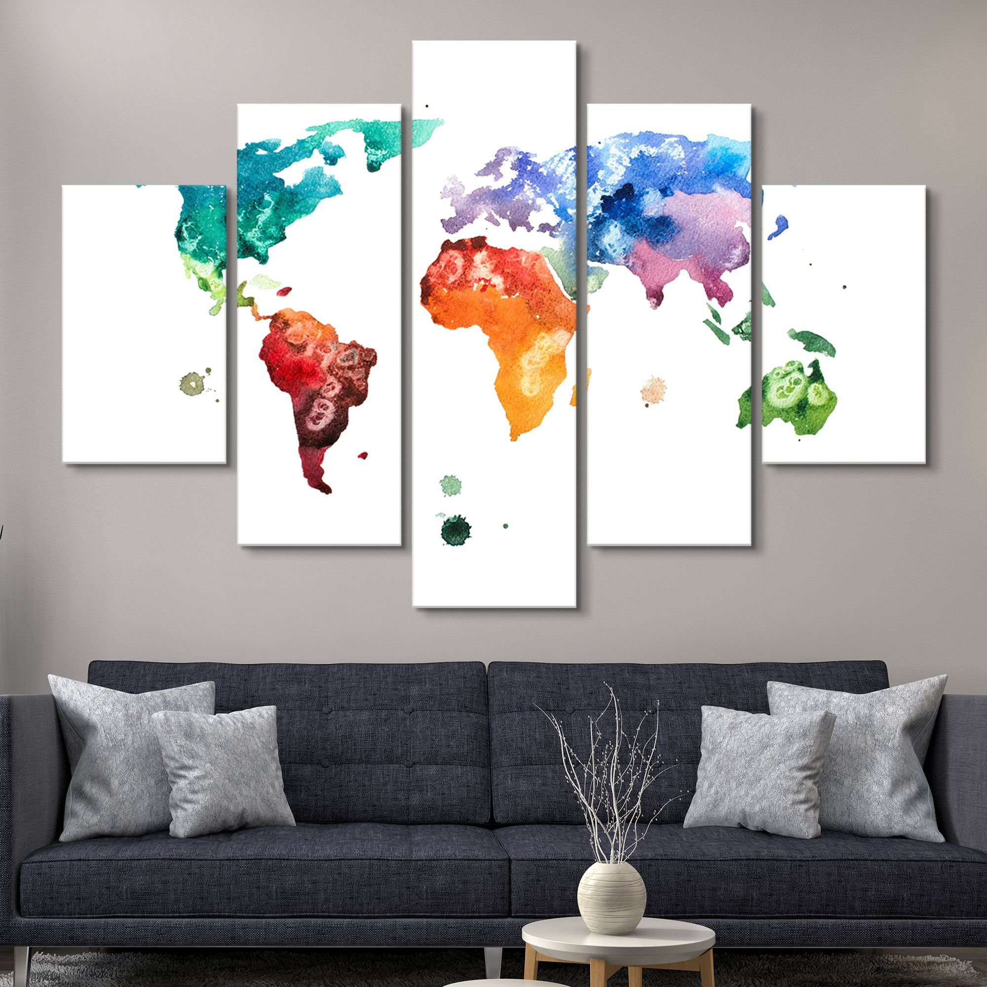 5 piece Watercolor World Map wall art
